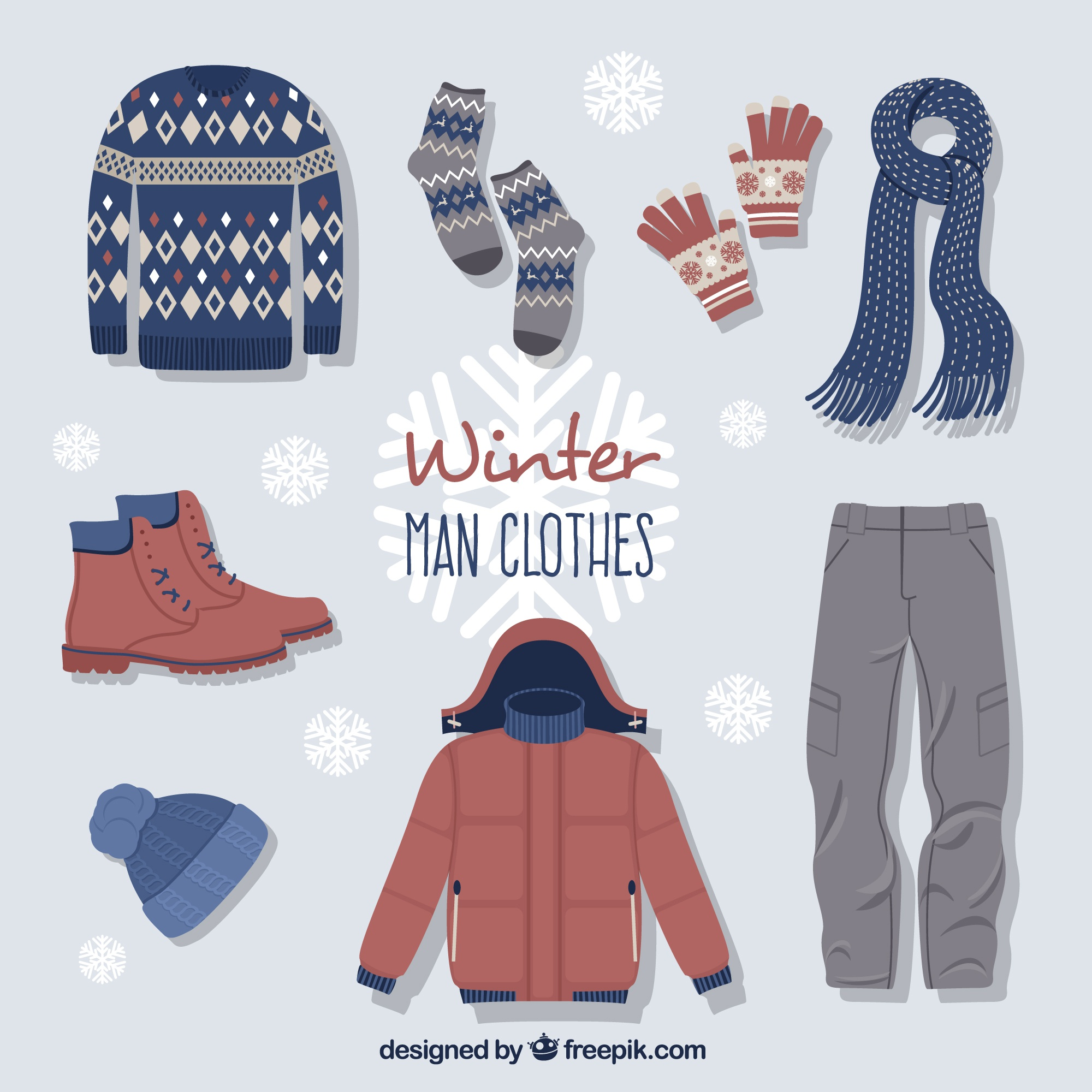 Cute winter clothes with accessories