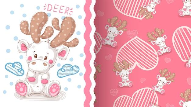 Cute winter deer - seamless pattern