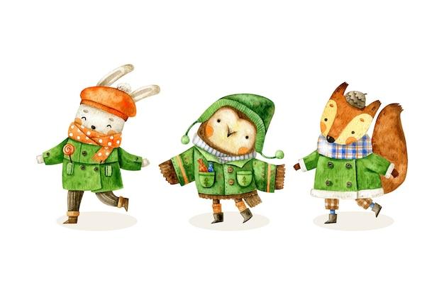 服を着たかわいい冬の森の動物