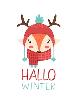 Cute  winter fox in hat and horns with text hallo winter