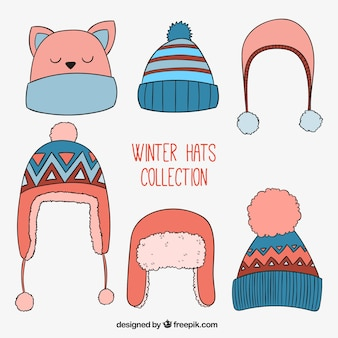 Cute winter hats collection in hand drawn style