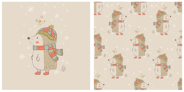 Cute winter hedgehog with bird and seamless pattern hand drawn