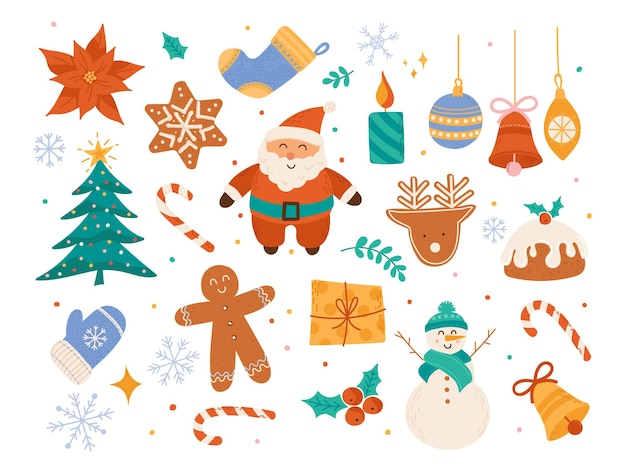 Cute winter holiday ornaments, christmas scrapbook decorative vector collection, xmas tree elements, santa claus, cookies, baubles, snowman, bell, candle illustration in flat cartoon style