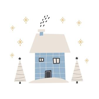귀여운 겨울 집 배경입니다. 최신 유행 스타일의 평면 벡터 일러스트 레이 션.