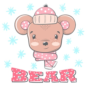 Cute winter illustration. bear characters.