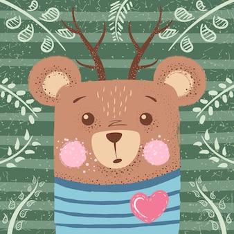 Симпатичные иллюстрации зимой. медведь персонажей.