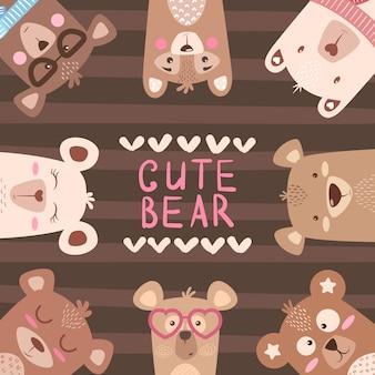 Cute winter illustration. bear characters