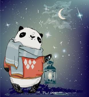 Cute winter night panda bear character in winter closes