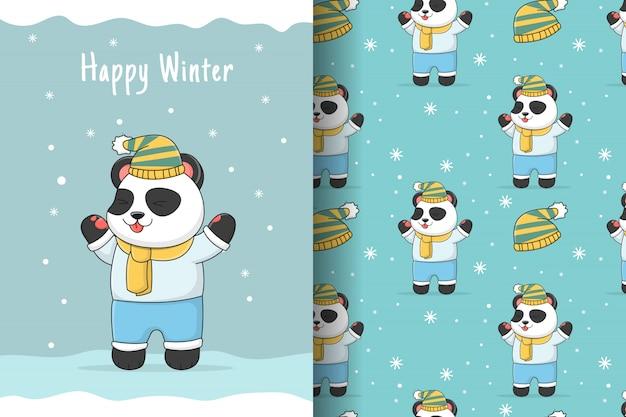 Симпатичная зимняя панда бесшовные модели и карты