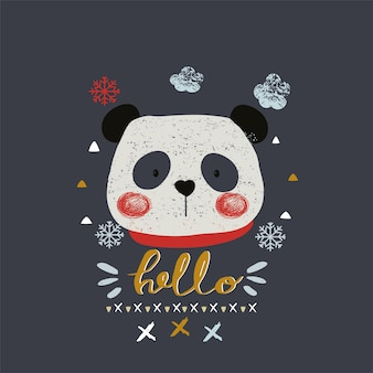 Cute winter pandahand drawn can be used for kids or babys shirt design fashion print design