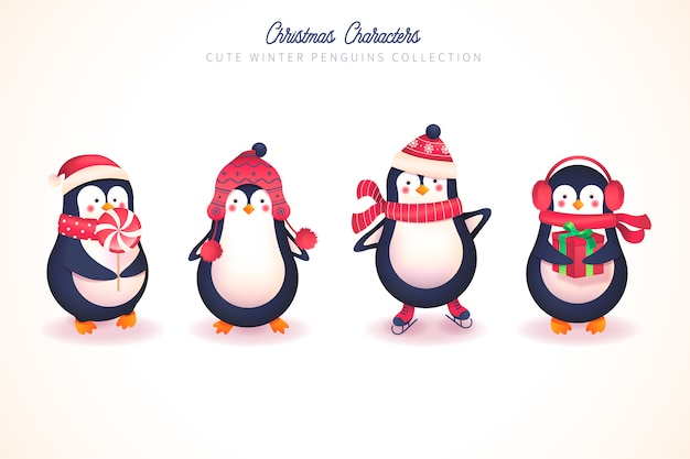 Cute winter penguin collection for christmas