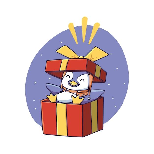 Симпатичный зимний пингвин делает сюрприз внутри подарочной коробки с изображением стикера персонажа
