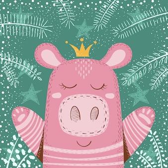 かわいい冬豚 - 子供のイラスト。ハンドドロー
