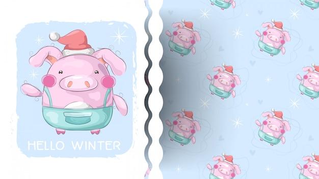 Cute winter pig - children illustration with pattern