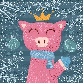 Cute winter pig