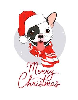 Милый зимний постер с рождеством с французским бульдогом