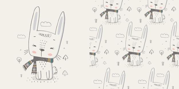 원활한 패턴으로 귀여운 겨울 토끼 손으로 그린 색상 문자티셔츠 인쇄에 사용할 수 있습니다.