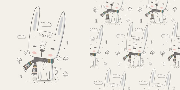 Cute winter rabbit hand drawn color character with seamless patterncan be used for tshirt print