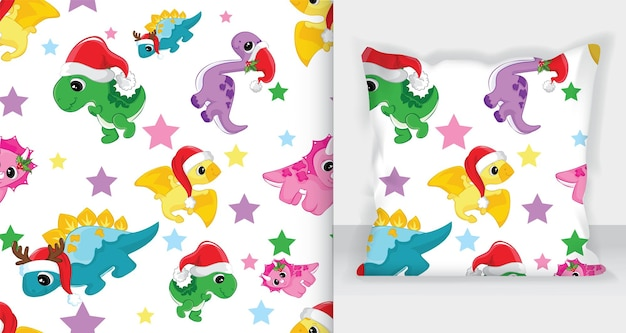 Cute winter seamless pattern dinosaurs. vector illustration - white background