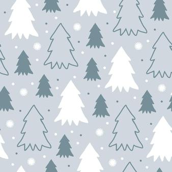 회색 파랑에 플랫 스타일의 만화 크리스마스 나무와 눈송이가 있는 귀여운 겨울 원활한 패턴