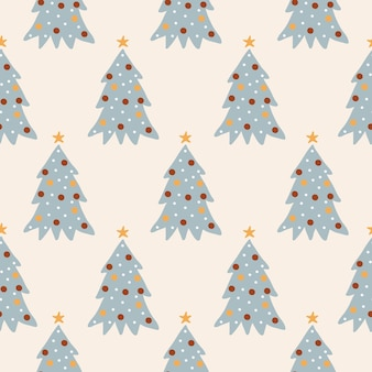 Cute winter seamless pattern with cartoon christmas trees in flat style on beige background