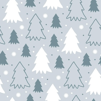 Cute winter seamless pattern with cartoon christmas trees and snowflakes in flat style on greyblue