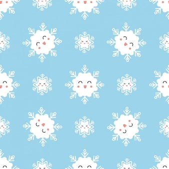 Cute winter seamless pattern with kawaii snowflakes.