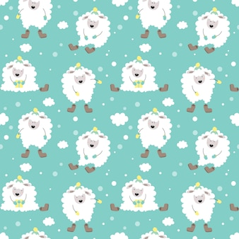 Cute winter seamless pattern with lamb.