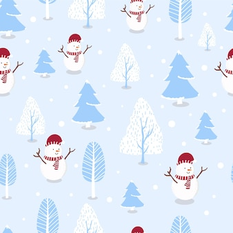 Cute winter seamless pattern with snowman,snow,tree for christmas holiday