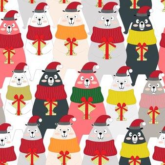 Cute winter teddy bear animal seamless pattern