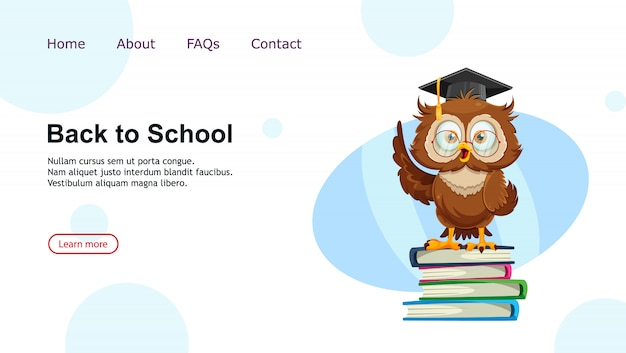 Cute wise owl. funny owl, back to school concept