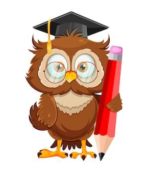 Милая мудрая сова. смешная сова, снова в школу концепции