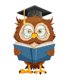 Cute wise owl reading book funny owl cartoon character back to school concept