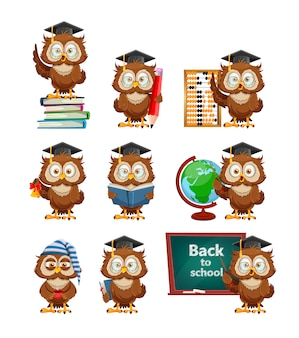 Cute wise owl, set of nine poses