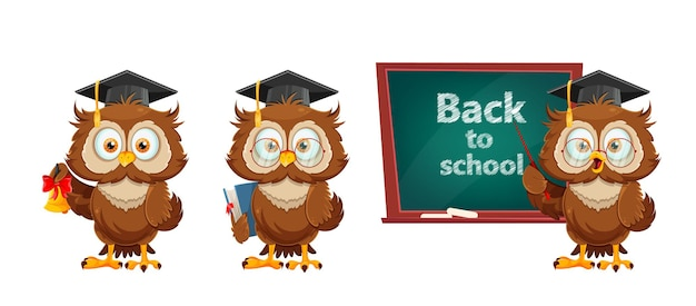 Cute wise owl set of three poses funny owl cartoon character back to school concept