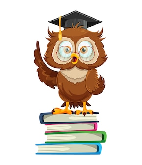 Cute wise owl standing on books