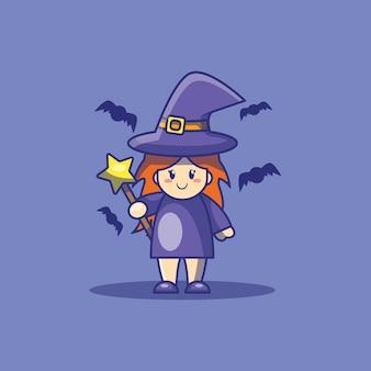 かわいい魔女とコウモリの漫画イラスト。ハロウィーンのアイコンの概念。