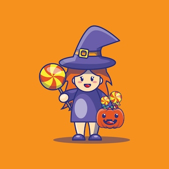 かわいい魔女とキャンディーの漫画イラスト。ハロウィーンのアイコンの概念。