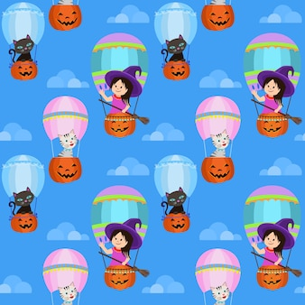 Cute witch and cat in pumpkin balloon