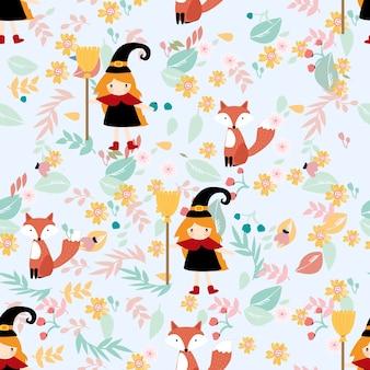 花のシームレスなパターンでかわいい魔女とキツネ