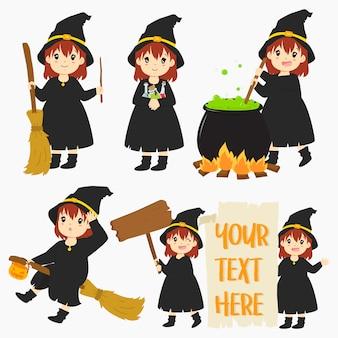 かわいい魔女とハロウィーンの要素セット