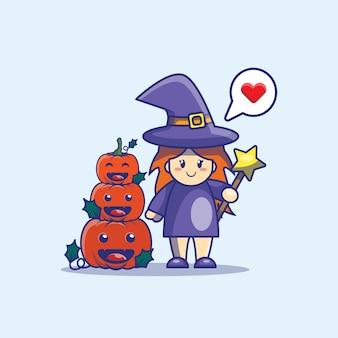 Милая ведьма и тыква иллюстрации шаржа. хэллоуин значок концепции.