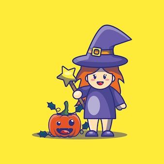かわいい魔女とカボチャの漫画イラスト。ハロウィーンのアイコンの概念。