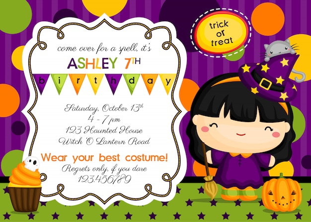 Cute witch birthday invitation