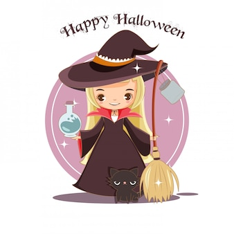 Cute witch and black cat for halloween concept.