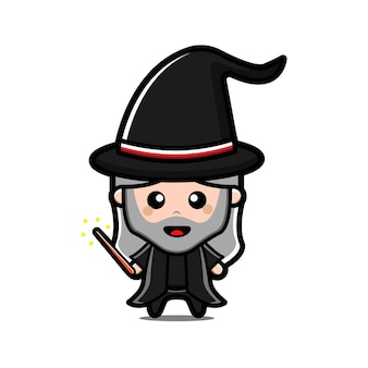 Cute witch cartoon character