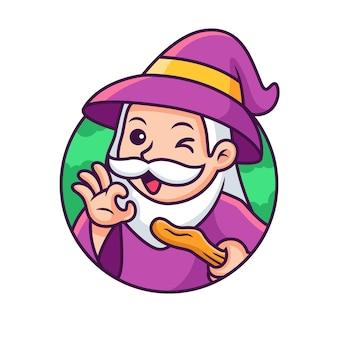 Милый мультфильм ведьма с милой позой. иконка иллюстрация. концепция значок hallowen изолированные