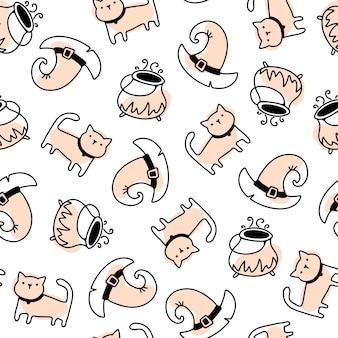 シンプルな手描きの幼稚な漫画の落書きスタイルのかわいい魔女の猫と帽子のシームレスなハロウィーンのパターン
