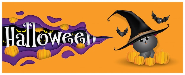 Cute witch cat and bat, happy halloween background.