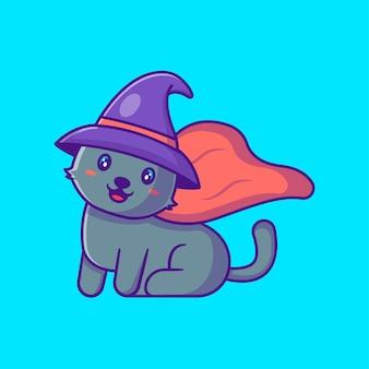 Милая ведьма кошка счастливого хэллоуина мультяшные иллюстрации